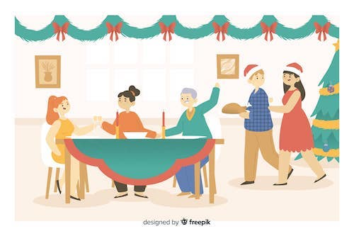 nouvelles, une famille en plein repas de Noel
